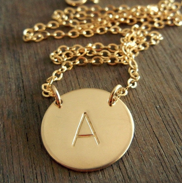 Gold initial necklace personalized hand stamped letter charm for Custom letter necklace gold