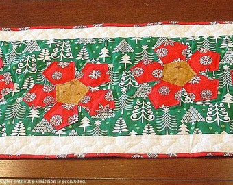 50% OFF Appliqued Quilted Christmas Table Runner - Poinsettia Was 75.00