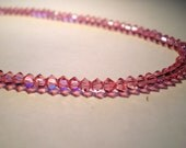Light Pink Rose Swarovksi Crystal Anklet