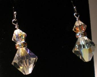 Iridescent Swarovski Crystal Bridal Earrings