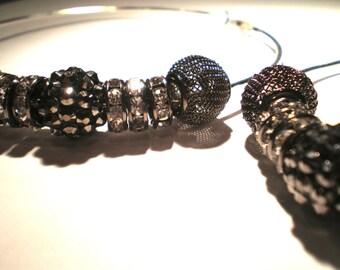 """Metallic Silver Round Crystal Large 3.5"""" Hoop Earrings"""