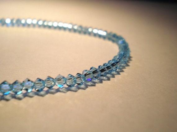 Aquamarine Light Blue Sawrovski Crystal Anklet