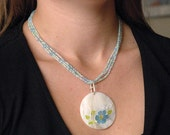 3 Strand Necklace- Sell Pendant- White, Blue, Green