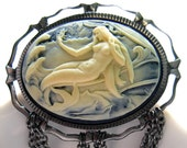 Mermaid Cameo vintage style convertible necklace brooch Blue free US shipping