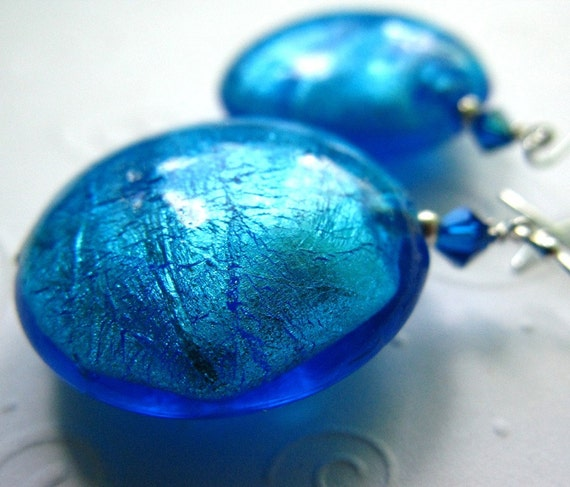 Big, Sparkly Carribean Blue Lampwork Beads and Crystal Earrings