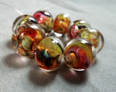 Lampwork Handmade Glass Bead - Lush and Lively - Pink, Amber, Brown, Green