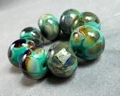 Ocean Magic Lampwork Handmade Glass Bead in Sea Green and Raku