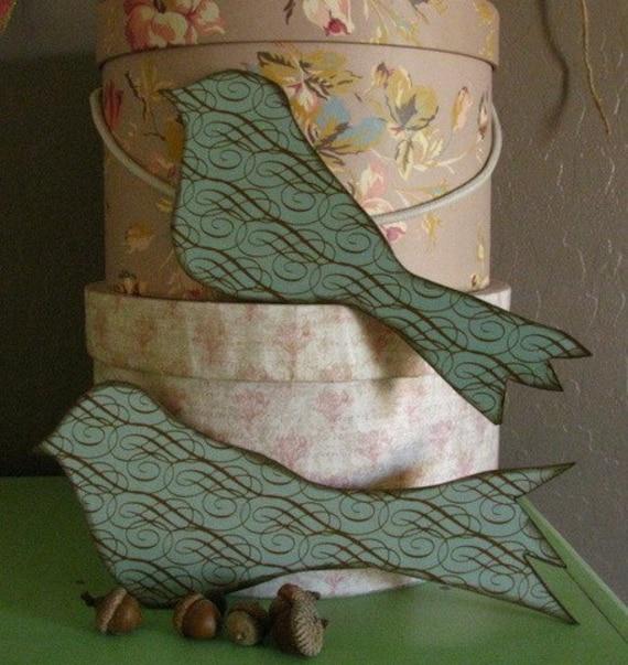 bird wooden wall hanging art  Blue Birds set of 3