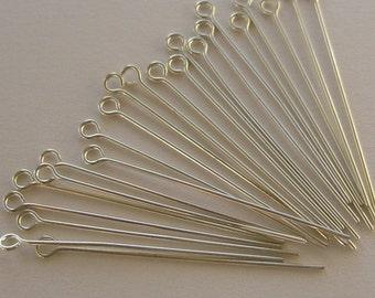SALE - Eyepins - 1.5 inch silver plated
