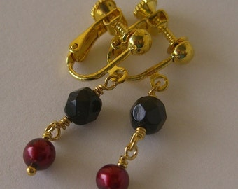 Black and Red - Clip Earrings