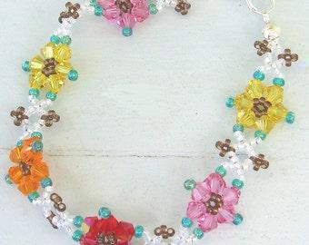 Crystal Flower Bracelet - Wrist Lei