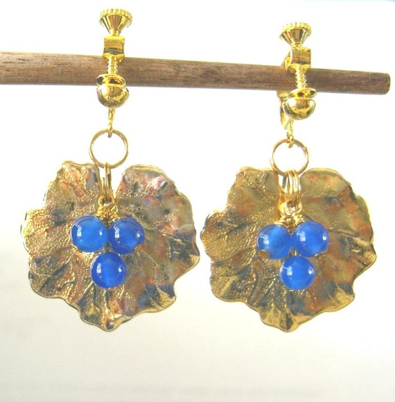 Chalcedony and Geranium Leaf Clip Earrimgs