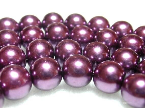8mm Purple Pearls 50 Dark Purple Glass Pearls in 8mm