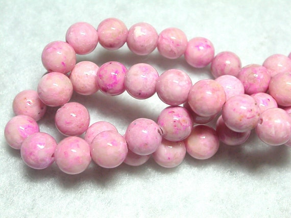 6mm Pink Bead 6mm Mottled Pink Fossil Beads 16 inch Strand