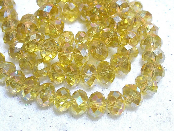 Golden Yellow Crystals 8mm X 6mm AB Rondelles