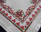 Vintage Ukrainian Embroidered Tablecloth Counted Cross Stitch Beautiful Work
