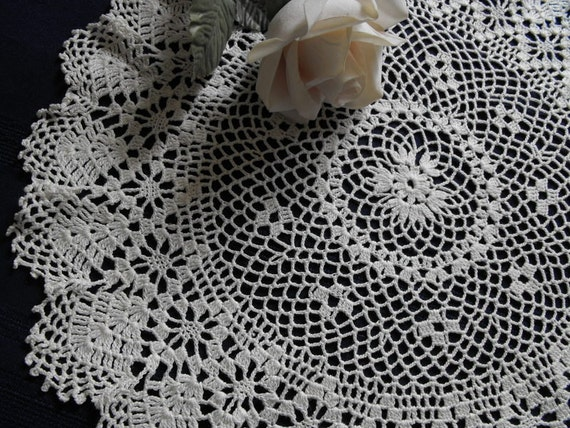 Vintage Crochet Doily Large 14 inch Centerpiece Perfect Condition So Pretty Doilies in my shop