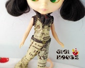 Blythe Outfit Black cool pants with Lace