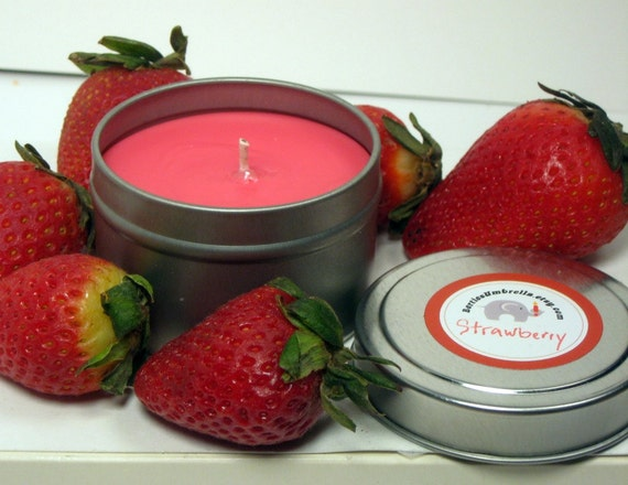 Strawberry Scented Soy Candle, 4oz travel tin, pink, strawberry scented candle