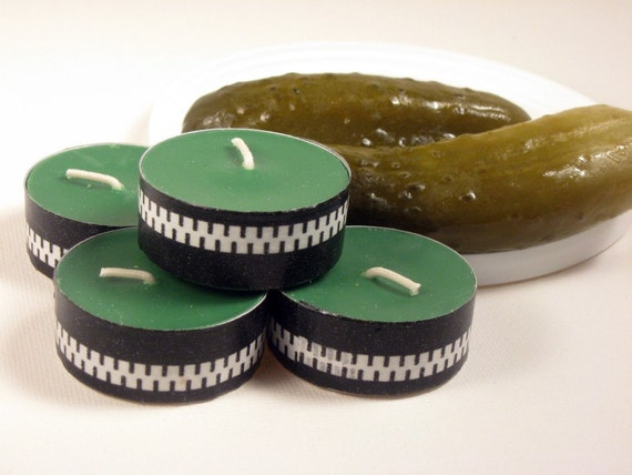 Tea Lights, Pickle Zippers, 4 pickle scented soy wax tea lights, green