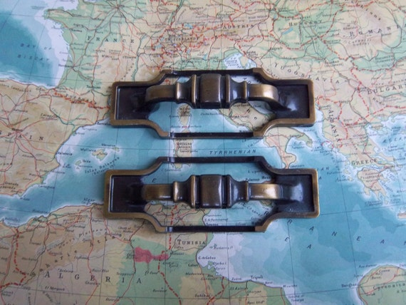 2 large vintage two tone brass metal chunky pull handles includes hardware