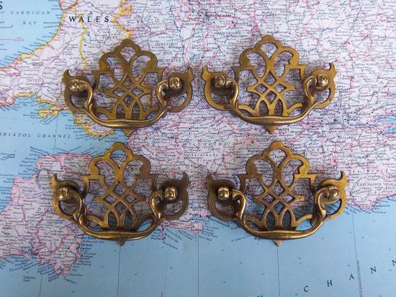 4 vintage fancy curvy open design brass metal handles includes hardware