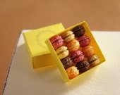 Pastel Macarons in a Yellow Box - 1/12 miniature