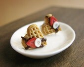 Waffle Studs - Food Jewelry - Chocolate and Fruit - Waffle Collection