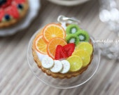 Miniature Food Jewelry - Fruit Tart Necklace - Orange, Kiwi, Lemon, Banana, Strawberries - Fruit Tart Collection