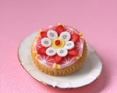 Fruit Tart / Pie / Cake Brooch - Grapefruit, Strawberries and Banana - Fruit Tart Collection - SALE