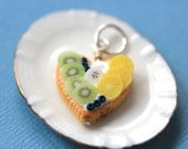 Fruit Tart / Pie / Cake Pendant - Heart with Kiwi, Lemon and Blueberries - Fruit Tart Collection - SALE