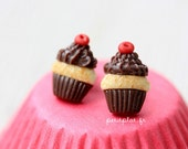 Cupcake Studs / Earrings - Vanilla, Chocolate and a Cherry - Cupcake Collection