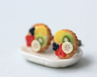 Fruit Tart Earrings - Lemon, Kiwi, Banana, Strawberries and Blueberries - Fruit Tart Collection
