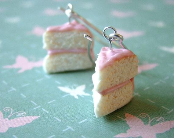 Pink Birthday Cake - Sterling Silver Earrings