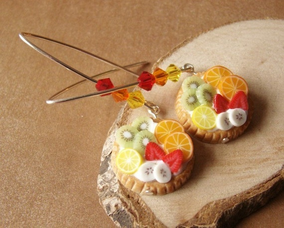 Tropical Feast - L - Dangle Earrings - Fruit Tart Collection