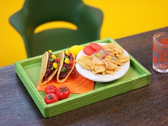 Miniature Meal Tray - Viva Mexico - 1/12 Dollhouse Scale