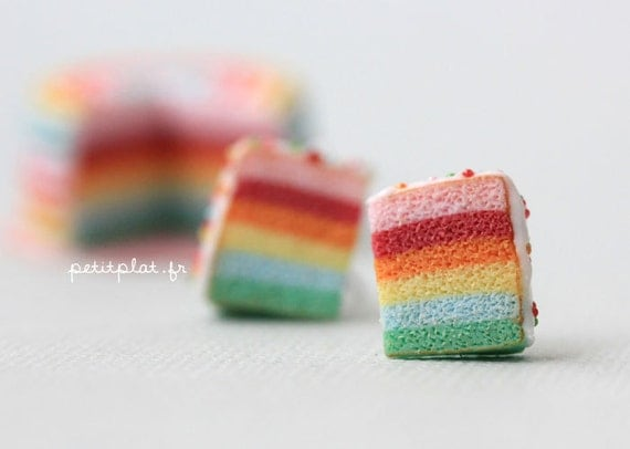 Cake Earrings - Pastel Rainbow Cake - Gateau Collection