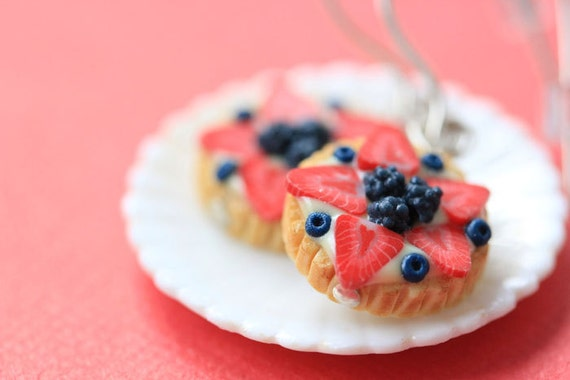 Fruit Tart / Pie / Cake Earrings - Strawberries and Blueberries - Fruit Tart Collection - SALE