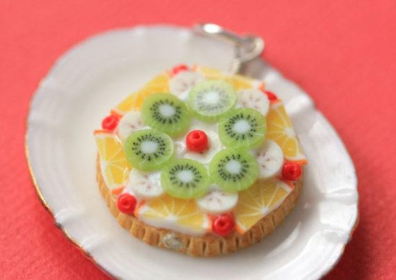 Fruit Tart / Pie / Cake Pendant - Orange, Kiwi, Banana and Cherries - Fruit Tart Collection - SALE