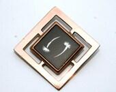 Vintage Copper Framed Damascene Brooch