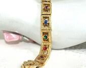 Vintage Gold Rhinestone Slider Charm Bracelet