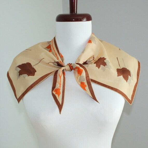 1950's Vera Wing Tip Silk Scarf Maple Leaves
