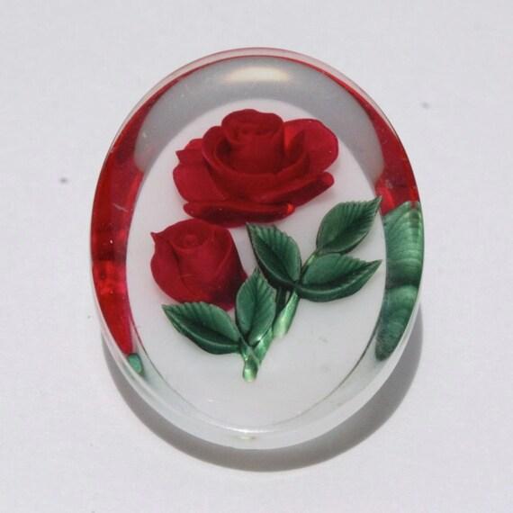 Vintage Reverse Carved Red Roses Oval Brooch