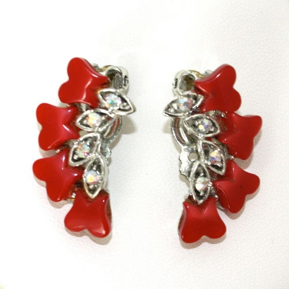 Vintage Red Thermoset and Aurora Borealis Earrings