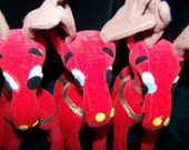 Vintage 60's Reindeer Lot of Three by Dankin Stuffed Bright Red Very Nice Condition 7 inches Tall