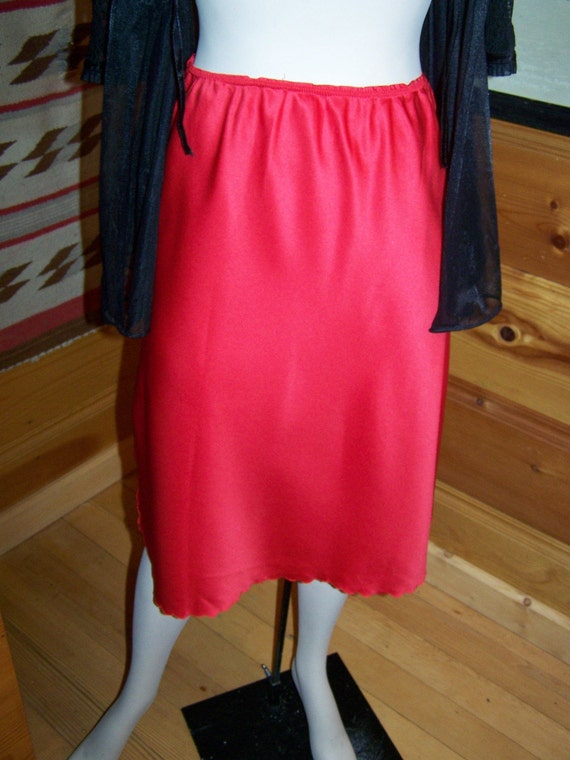 Vintage 80's Bright Red Half Slip - Waist-up to 30""