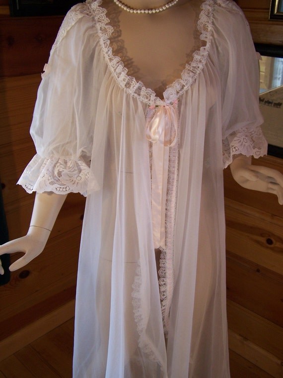 Vtg 70s Sheer Robe Chiffon White With Lace By Ohvintagethreads