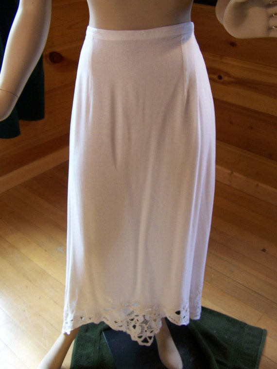 Vintage 80s Skirt Rayon And Lace White Long Skirt Beach Cover