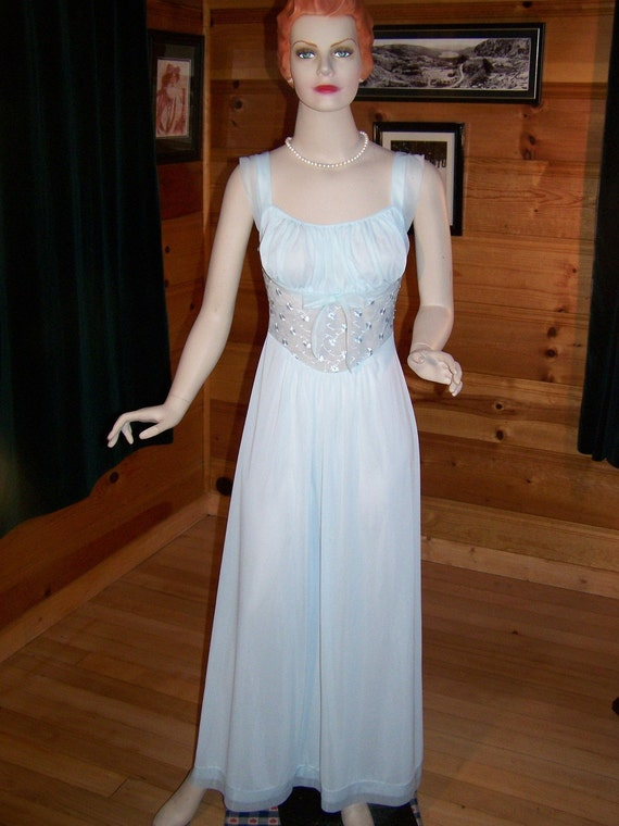 "Vintage 60's Night Gown Light  Blue with Fitted Bodice Chiffon and Embroidery by ""Luxict"" Small - Bust 34"""
