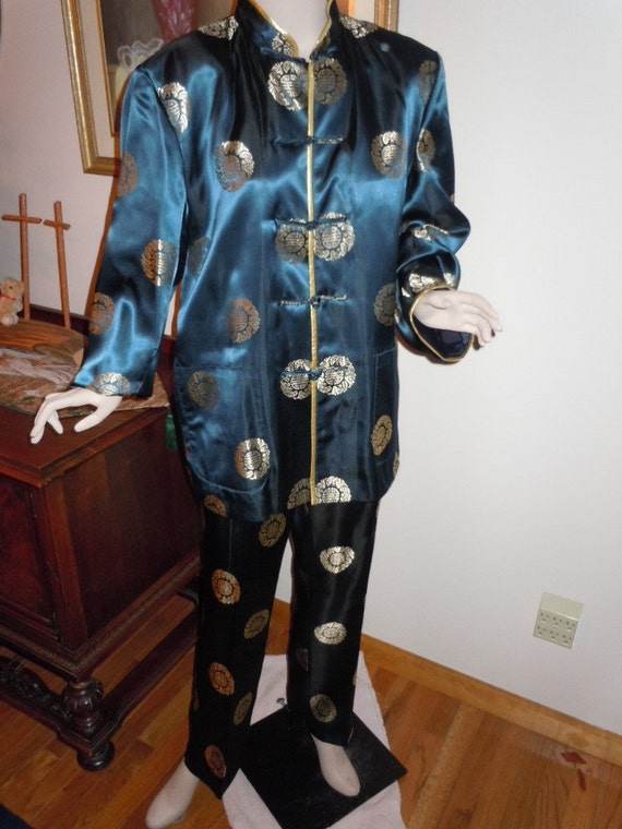 """SALE* Vintage 70's Womens Asian Style- Sexy  Pajamas Lounge Outfit Large Size  Waist 32""""- Bust 42"""""""